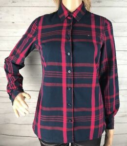 Tommy-Hilfiger-Plaid-Shirt-XS-Red-Navy-Blue-Long-Sleeve-Button-Down-Casual-Top