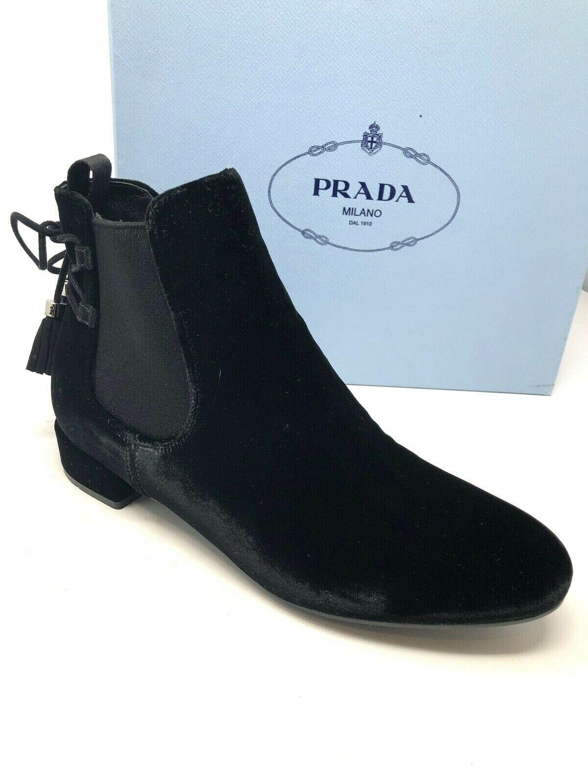 800 New PRADA Womens Black Boots Ladies shoes Size 6.5 US 36.5 EU