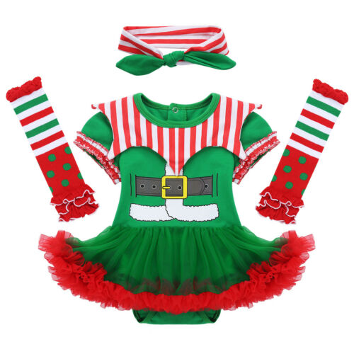 Baby Mädchen Weihnachten Clown Kostüm Outfit Strampler mit Stirnband Beinwärmer