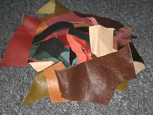 LEATHER-SCRAPS-amp-OFF-CUTS-ALL-SHAPES-AND-SIZE-90g-MIXED-COLOURS