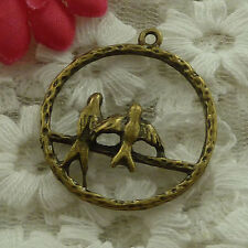 free ship 120 pieces bronze plated bird charms 30x27mm #2999