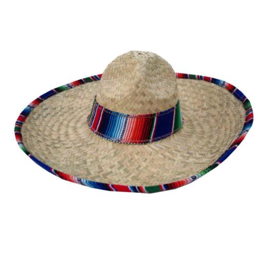 New Genuine Mexican Sombrero Straw with Sarape Blanket Trim Costume Party