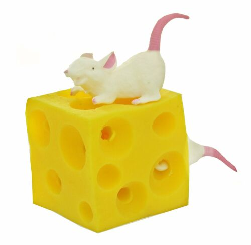 SUPER Stretchy Mice and Cheese Toy 2 Squishable Mouse Figures Fidget ASD 563