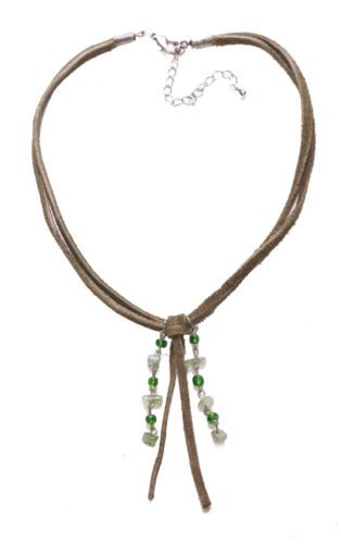 ZX47//51 LADIES GREEN SUEDE TASSEL BEADED STATEMENT NECKLACE UNIQUE COOL NEW