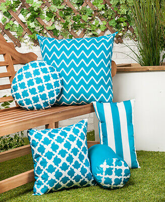 2 Turquoise  Waterproof Garden Cushions Filled with Pads