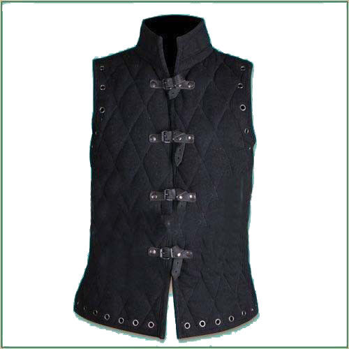 X-Mas Gift Thick Padded Black Gambeson Medieval Padded Collar Sleeves Less Armor