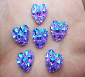 DIY 100pcs Purple 12mm Heart AB Resin flatback Scrapbooking for phone/wedding KK