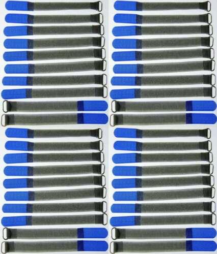 40 x Klettband Kabelbinder FK 16cm x 16mm blau Klettbänder Kabelklett Meltallöse