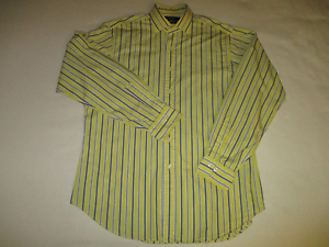 Polo-by-Ralph-Lauren-Mens-Large-Yellow-Blue-White-Stripe-Long-Sleeve-Shirt