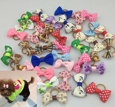 10pcs Pet Dog Handmade Printing Dot Mix Design  Hair Bow Rubber Band Grooming