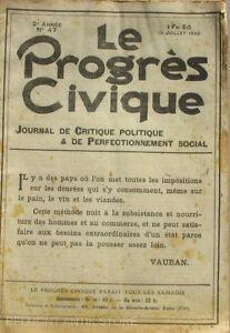 CompéTent Le Progrès Civique N°47 1920 - Journal De Critique Politique - Henri Dumay Rare