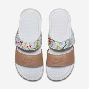 0da8cbf9f706 Nike WOMENS Benassi Duo Ultra Slide LIBERTY QS Vachetta Tan White SZ ...