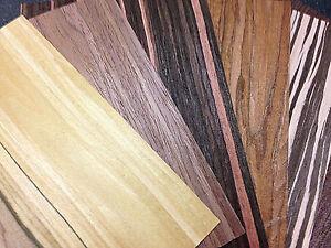 Wood Veneer  Samples - Ebony Rosewood Oak Zebrano Walnut Olive Sandalwood