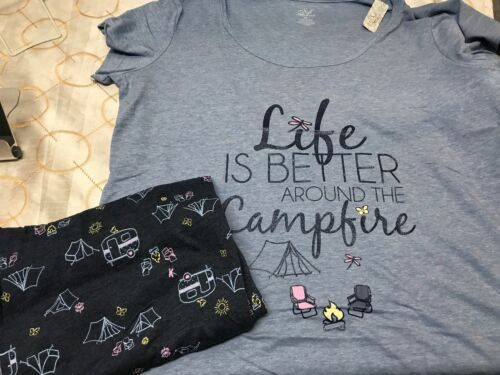 Soft Sensations LIFE IS BETTER BY THE CAMPFIRE Camping Pajamas NWT