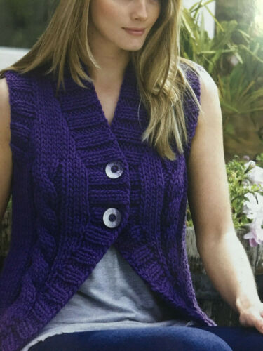 KNITTING PATTERN Ladies Textured Sleeves Cardigan Cable Gilet King Cole 3173