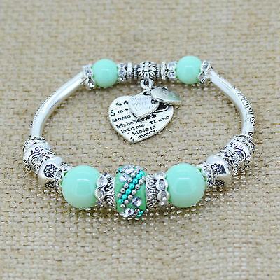 silver love heart charm glass bead strand bracelet bangle women fashion jewelry