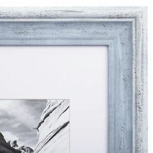 11x14 Picture Frame Distressed Blue Matted To 8x10 Frames By
