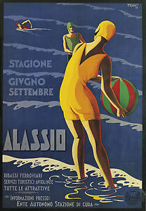 Alassio-Italy-Vintage-painting-Travel-Poster-Print-For-Glass-Frame-90cm-art