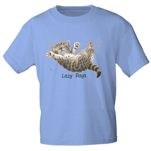 Marques T-Shirt S M L XL XXL Print chat dans haengematte Lazy Days ka161 bleu clair