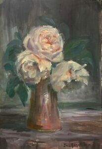 Original-oil-painting-art-Vase-of-flowers-floral-Impressionism-shabby-chic-decor