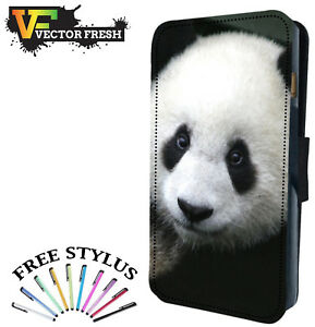 the latest 81b6d e5672 Details about CUTE HAPPY FLUFFY PANDA BEAR - Leather Flip Wallet Phone Case  Cover