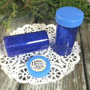 12-Screw-Top-Blue-Pill-Bottles-Snack-Candy-JARS-party-Favors-3814-DecoJars-USA