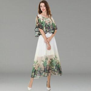 8af048820db8 Detalles de Elegante Vestido Traje Blanco Verde Largo Mangas Columpio Slim  Suave 4242