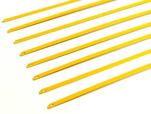 """QTY 6 8/"""" UNIVERSAL STAINLESS STEEL ZIP TIE CABLE FOR EXHAUST HEADER WRAP YELLOW"""