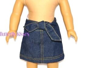 Denim Bow Skirt w// Panties 18 in Doll Clothes Fits  American Girl