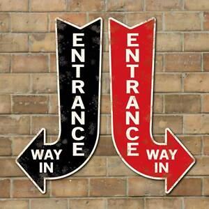 vintage style entrance way in arrow exit arrow sign way in sign old