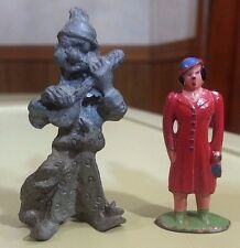 2 Vintage Metal Toys Lead/Tin ? Antique figures Guitar playing wizard w/ cat