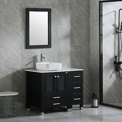 36'' Black Modern Bathroom Vanity Cabinet Bowl Sink w ...