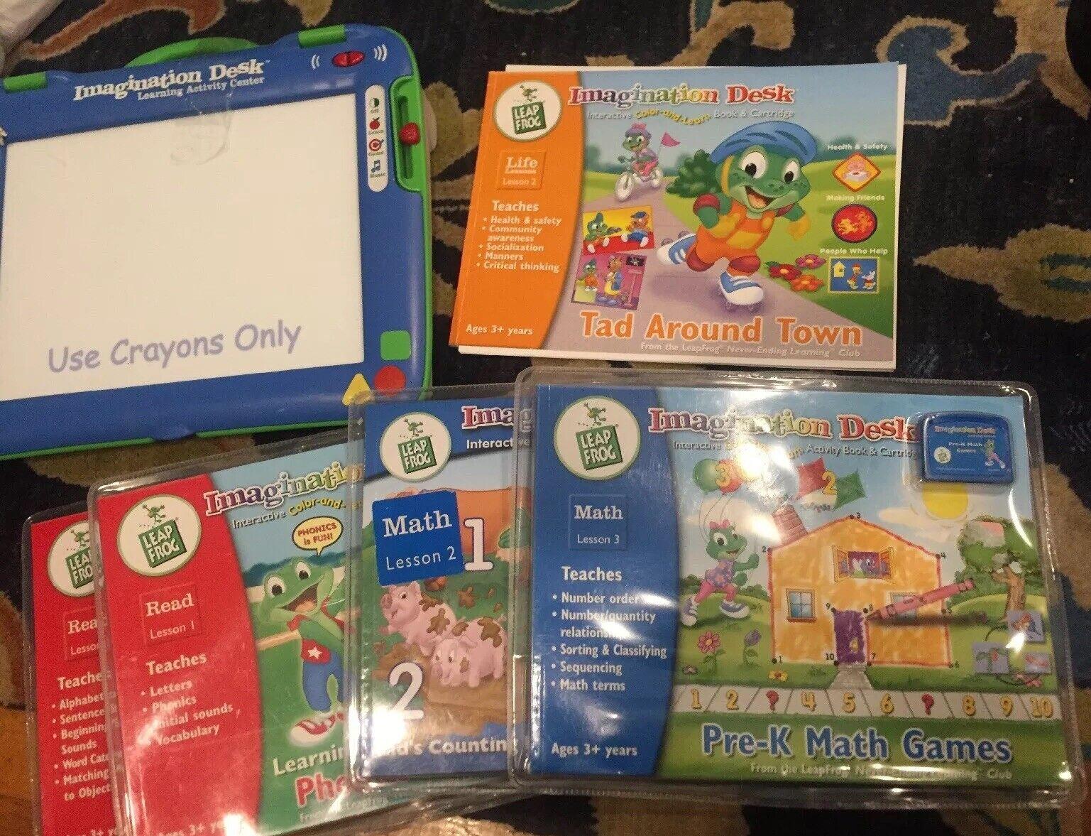 Leapfrog  Imagination Desk Learning System w. Books & Cartridges, New Batt WORKS