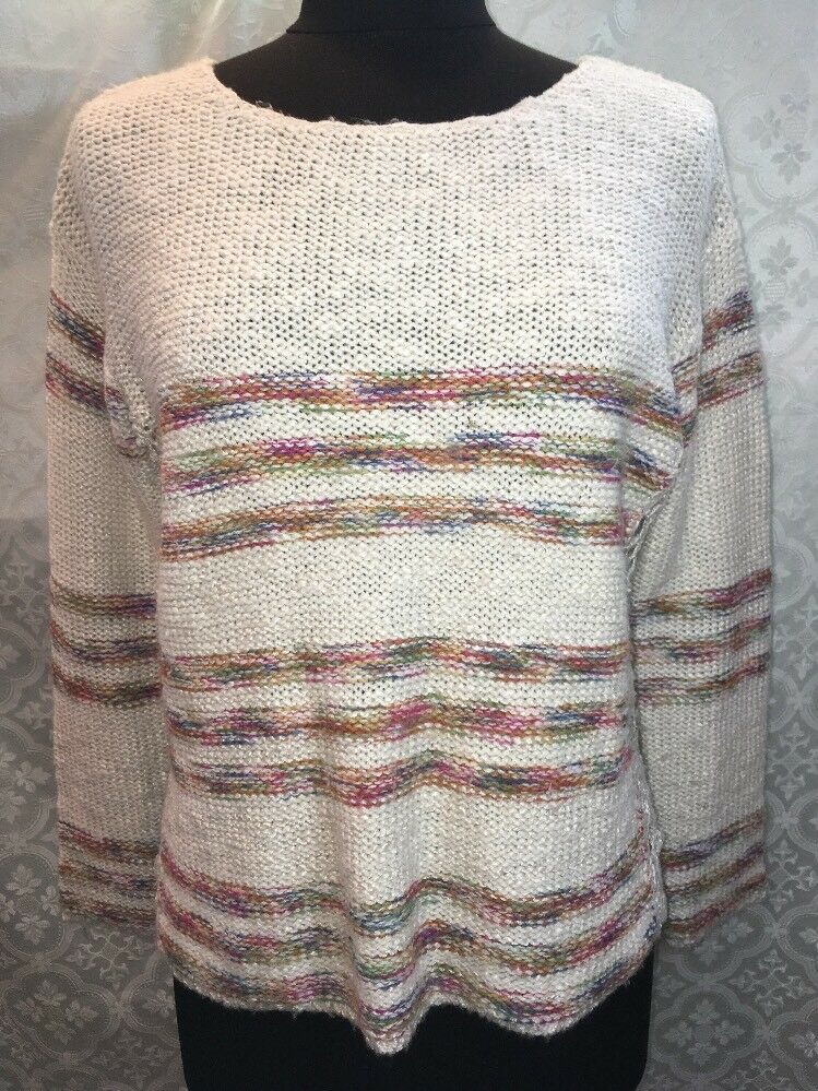 Paper Crane Womens Sweater S Open Weave Striped Stripes Anthropologie