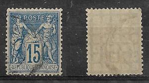 Timbre-FRANCE-N-101-15c-bleu-SAGE-type-II-1892-Obli-Convoyeur-Papier-quadrille