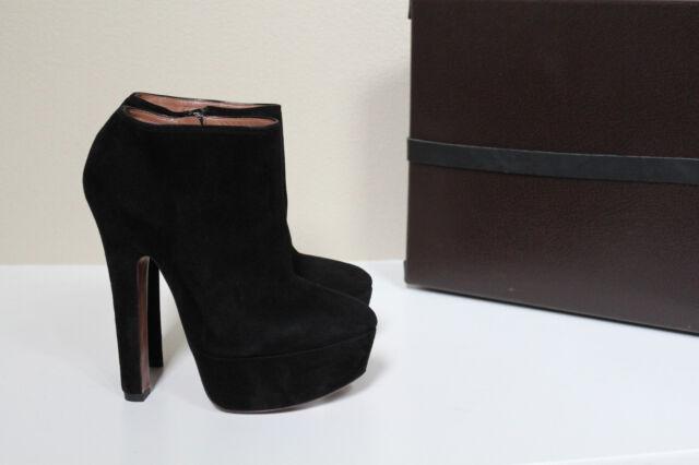 New sz 8 / 38 Azzedine Alaia Black Suede Platform Ankle Bootie Heel Shoes