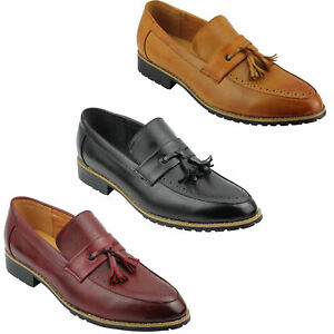 Mens-Leather-Lined-Maroon-Black-Tassel-Loafer-Smart-Casual-Slip-on-Driving-Shoes