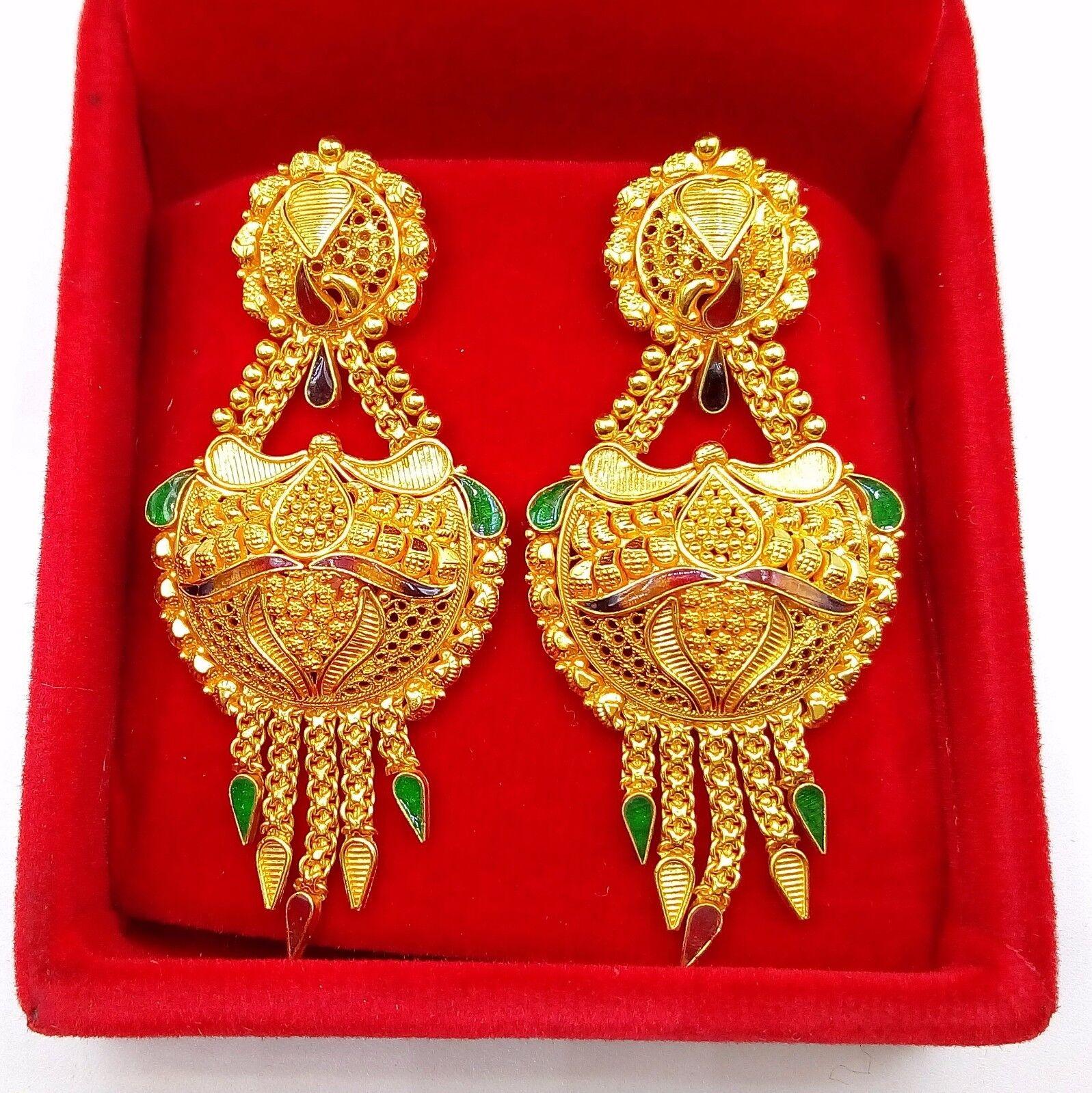 gold EARRING PAIR 22K JEWELRY TRADITIONAL WEDDING FILIGREE NICE JEWELRY RAJ