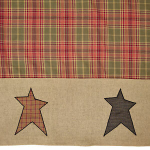 Country Primitive Stratton Shower Curtain Tan, Olive, Red, Black 72x72 Cotton