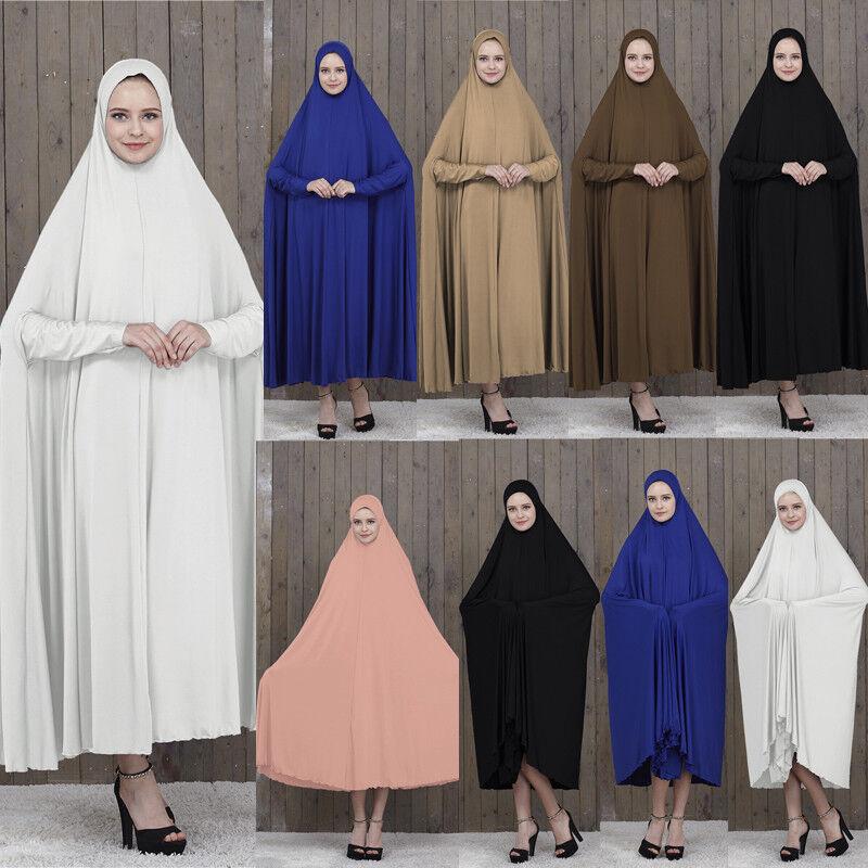 Muslim Women Overhead Abaya Hijab Jilbab Khimar Headscarf Prayer Dress Ramadan