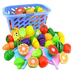 6xRollenspiel-Kueche-Obst-Gemuese-Essen-Schneiden-Spielzeug-Set-Geschenk-ModischXJ