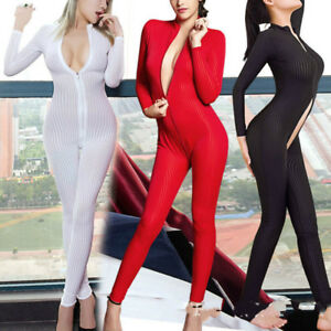 Dame-Striped-Sheer-Bodysuit-Smooth-Fiber-2-Zipper-Long-Sleeve-Costume-Jumpsuit