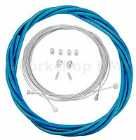 Bicycle 5mm Lined Vintage Road Bike Brake Cable Housing Kit Clear Blue