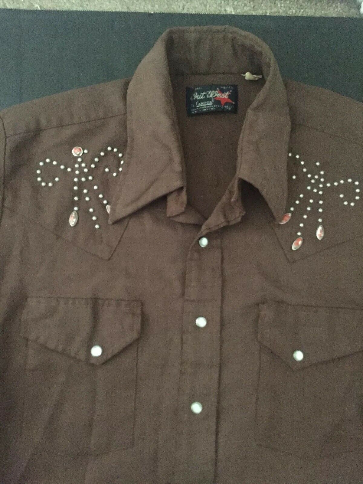 Campus Out West Vintage Western Shirt Embroidered Rhinestones Rare