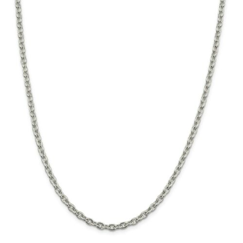 """Details about  /Sterling Silver Solid Plain 4.5mm Cable Link Chain w// Lobster Clasp 16/"""" 30/"""""""