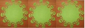 "HALLOWEEN GREEN FELT SKULL DOILIES 8/"" SKARY SKULLS PARTY SKELETON HEAD BONES NEW"