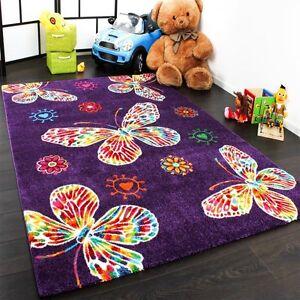 Violet-Papillon-Tapis-Filles-Chambre-a-coucher-tapis-enfants-Kids-Room-Nursery-Tapis-de-jeu