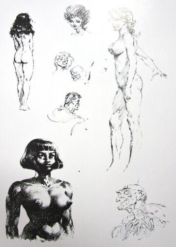 Vintage Frank Frazetta Art Sketch Instruction Black//White Nude Neanderthal GGA