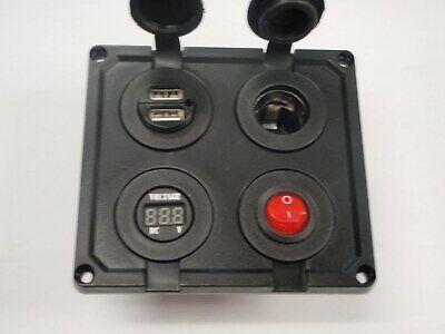 12 V Socket Panel Marine Outlet w// Jumpers Triple USB Charger Blue Voltmeter