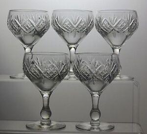 LOVELY CUT GLASS CRYSTAL GLASSES SET OF 5 CdGOVRV1-08065420-298640013